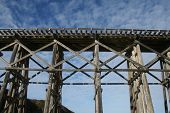 stock photo of trestle bridge  - Old wooden railroad train trestle at Fort Bragg - JPG