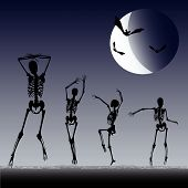 stock photo of jive  - Background illustration with Dancing Skeletons against a halloween moon - JPG