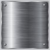 stock photo of nameplates  - Vector square  brushed metal steel plate with screws - JPG