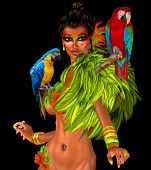image of navel  - Parrots on sexy woman - JPG