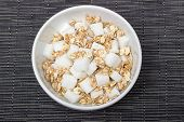 picture of diabetes mellitus  - A bowl of cereals with too much sugar - JPG