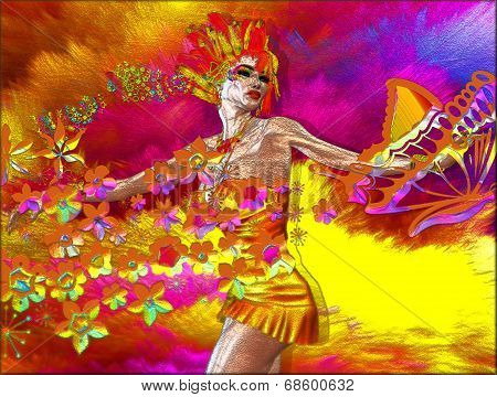 Colorful Abstract of Woman with Flowers and Butterflies.