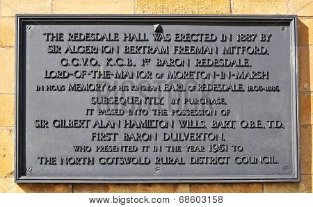 Redesdale Hall information sign.