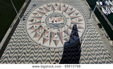 Compass Rose Square From The Top Of The Monument To The Discoveries, Lisbon, Portugal
