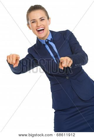 Smiling Business Woman Pointing In Camera