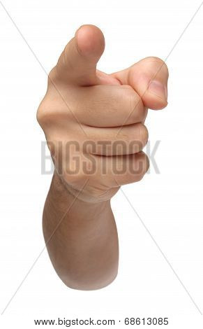 Accused. Pointing hand isolated on white