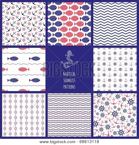 Set of eamless nautical patterns