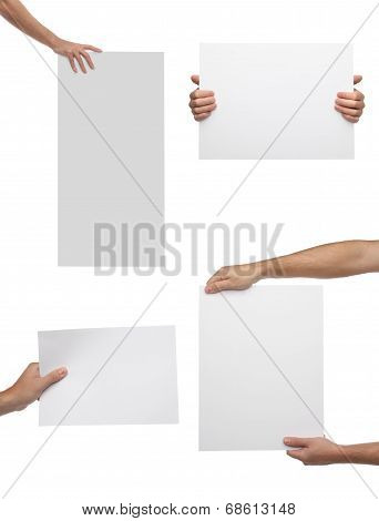 Collection of hand holding blank paper isolated