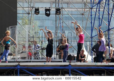 Perm, Russia - Jun 17, 2013: Girls Dance At Rehearsal On Stage At White Nights Festival. Million Peo