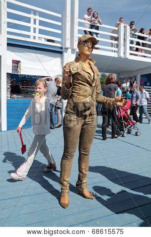 Perm, Russia - Jun 15, 2013: Living Sculpture Golden Photographer At White Nights Festival. Million