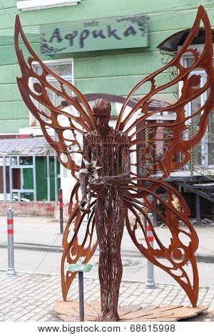PERM RUSSIA - JUL 18 2013: Urban sculpture Butterfly near Crystal cinema