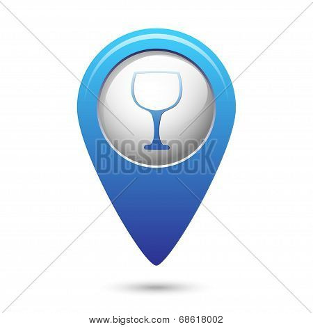 Map pointer with goblet icon