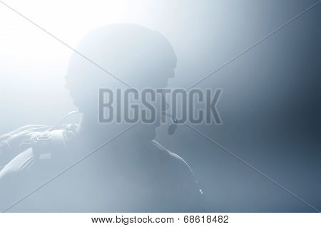 A silhouette of a soldier