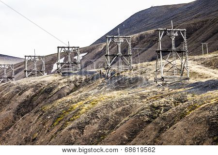 Aerial Coal Mining Towers, Longyearbyen, Svalbard, Norway