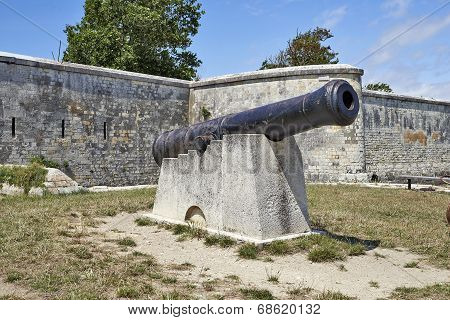 Cannon At The Entrance Of The Port Of The Island Of Aix