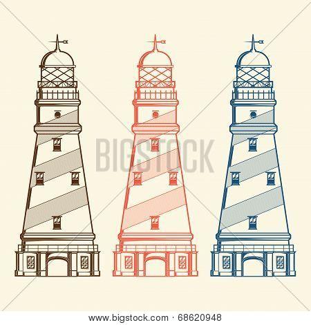 Retro Lighthouses Set Isolated On White Background. Line Art. Modern Design. Vector Illustration