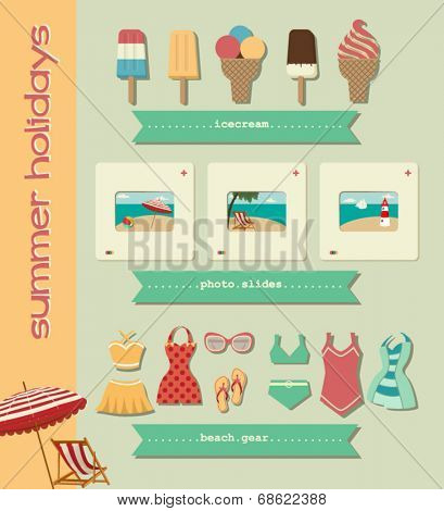 Set of Summer Icons - Colorful summer clip art, including ice cream, photo slides and swimsuits