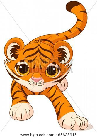 Illustration of crouching cute baby tiger