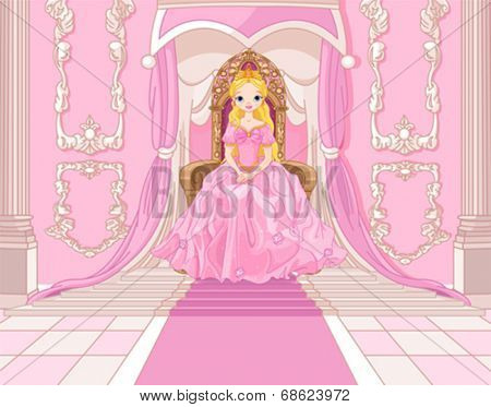 Charming Princess sits on a throne in the pink hall