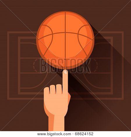 Sports illustration of hand spinning basketball ball.