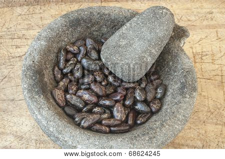 Raw Cacao In Mortar