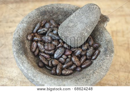 Mortar And Pestle With Cacao