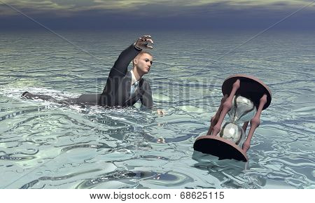 Businessman and hourglass sinking - 3D render