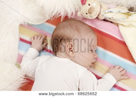 Portrait of sweet sleeping newborn baby.