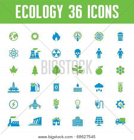 Ecology Vector Icons Set - Creative Illustration on Energy Theme