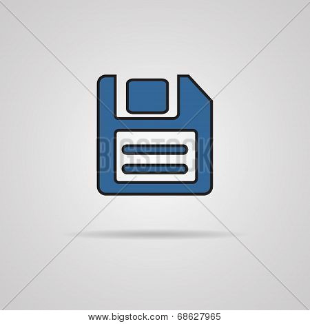 a blue vector icon with diskette inside