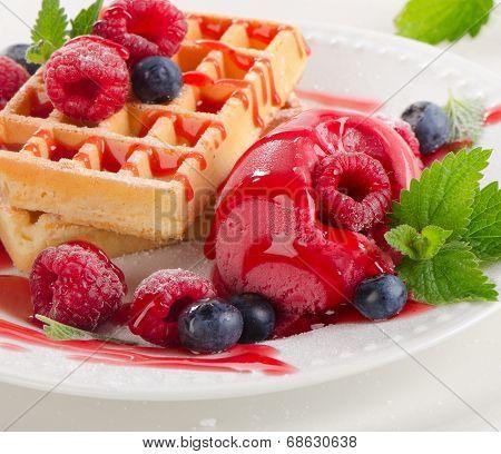 Waffles With Raspberries Sorbet.