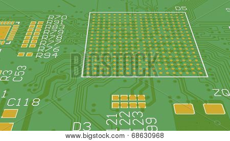 Pcb Green Without Elements