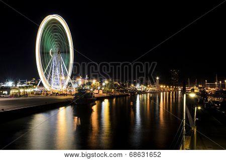 The port of Rimini at night