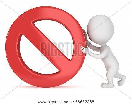 3D Man Rolls Forbidden Sign