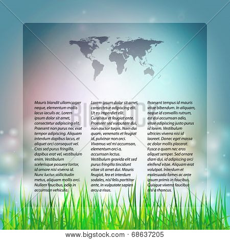 Blue Abstract background with grass, template  vector illustration for mass media