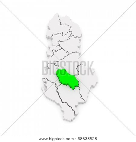 Map of Berat. Albania. 3d