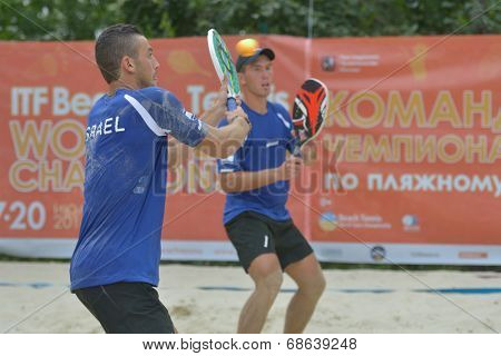 MOSCOW, RUSSIA - JULY 17, 2014: Men team Israel in the match with Lithuania during ITF Beach Tennis World Team Championship. Lithuania won the round