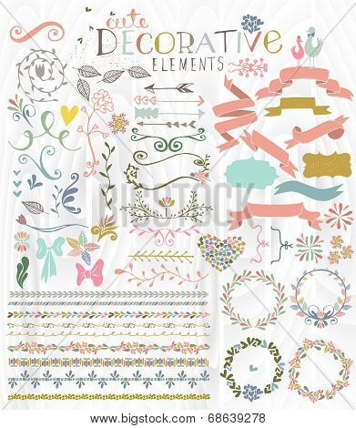 Cute stylish decorative elements