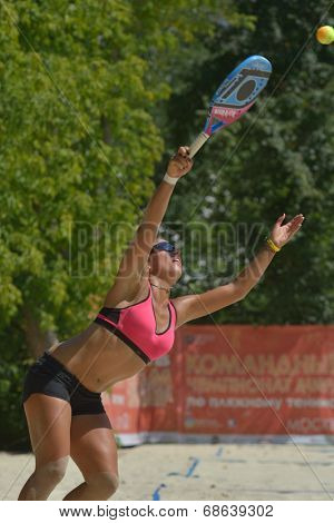 MOSCOW, RUSSIA - JULY 16, 2014: Patricia Diaz of Venezuela on the training before the ITF Beach Tennis World Team Championship. Russia hosts the championship for the third time