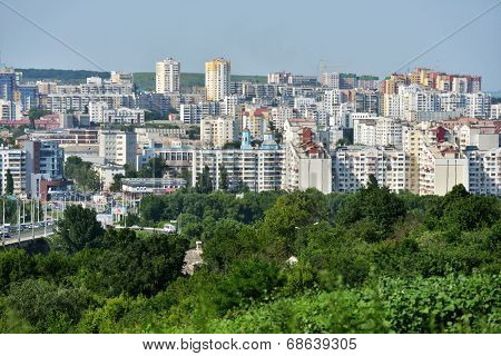 BELGOROD, RUSSIA - JUNE 6, 2014: Aerial view to the city center. In 2007 Belgorod got the title