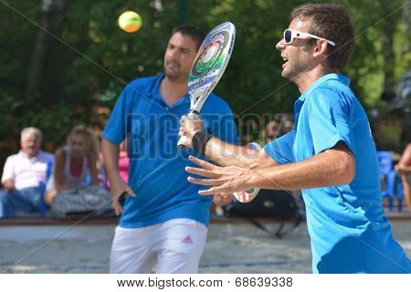MOSCOW, RUSSIA - JULY 17, 2014: Men team France in the match with Greece during ITF Beach Tennis World Team Championship. France won in two sets