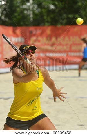MOSCOW, RUSSIA - JULY 16, 2014: Samantha Barijan of Brazil on the training before the ITF Beach Tennis World Team Championship. Russia hosts the championship for the third time