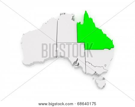 Map of Queensland. Australia. 3d