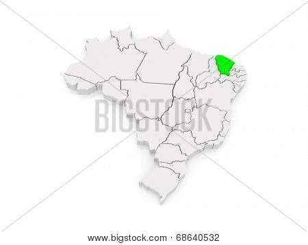 Map of Ceara. Brazil. 3d