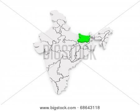 Map of Bihar. India. 3d