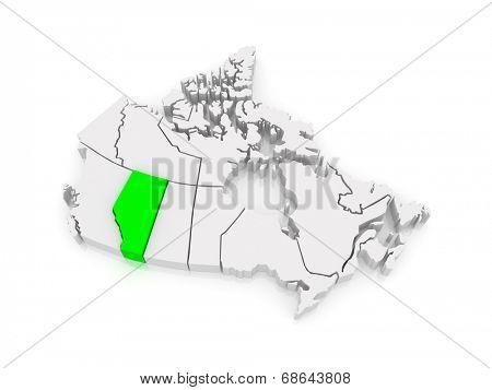 Map of Alberta. Canada. 3d
