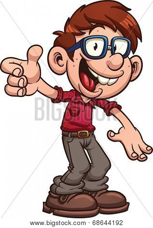 Cartoon nerd or geek. Vector clip art illustration with simple gradients. All in a single layer.