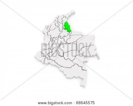 Map of Norte de Santander. Colombia. 3d