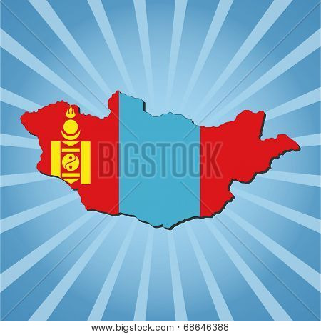 Mongolia map flag on blue sunburst illustration