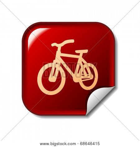 Bike icon on red web sticker
